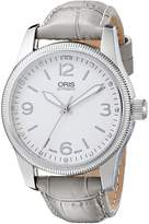 Oris Women's 0173376494031LS Stainless Steel Automatic Watch with Gray Leather Band