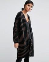 Selected Knit Cardigan In Zebra Print