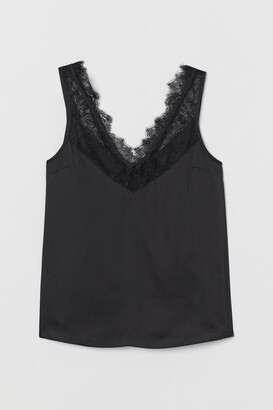H&M Lace-trimmed Top - Black