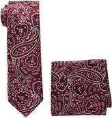 Pierre Cardin Men's Paisley Tie and Pocket Square, black/red