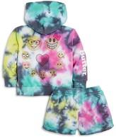 Butter Shoes Girls' Tie Dye Emoji Hoodie & Shorts Set - Little Kid