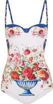 Dolce & Gabbana Printed Balconette Swimsuit - White