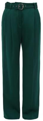 Sies Marjan Blanche Topstitched Wool Wide-leg Trousers - Dark Green