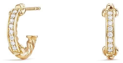 David Yurman Petite Pavé Hoop Earrings with Diamonds in 18K Gold