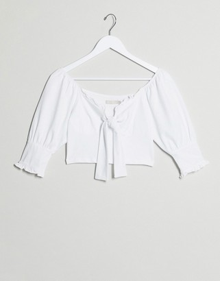 Pieces puff sleeve tie front crop top in white