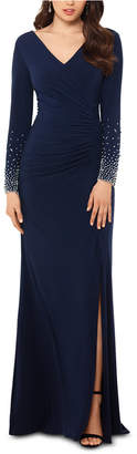 Xscape Evenings Petite Beaded-Sleeve Gown
