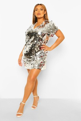 boohoo Plus Sequin Disk Shift Dress