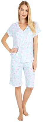 Karen Neuburger Sky and Forest Short Sleeve Bermuda Pajama (Floral Sage) Women's Pajama Sets