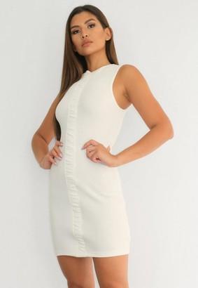 Missguided Cream Rib Ruched Panel Mini Dress