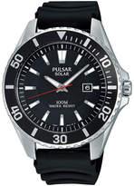 Pulsar On the Go Mens Black Silicone Strap Solar Watch PX3037