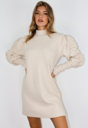 Missguided Cream Ruched Sleeve Sweater Dress