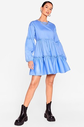 Nasty Gal Womens Cotton Long Sleeve Tiered Mini Dress - Blue