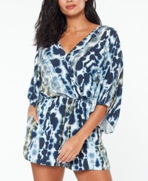 Bar III Printed Flutter-Sleeve Romper Cover-Up, Created for Macy's Women's Swimsuit
