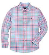 Vineyard Vines Boys' Beach Plum Plaid Whale Shirt - Big Kid