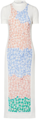Loewe Gathered Gingham Poplin-paneled Ribbed Cotton-blend Midi Dress