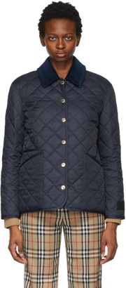 Burberry Navy Quilted Corduroy Collar Jacket