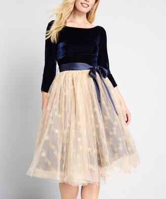 Collectif Women's Special Occasion Dresses Navy - Navy A Night to Remember A-Line Dress - Women