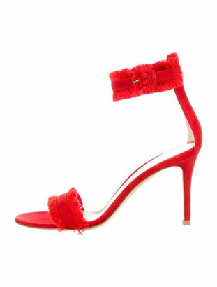 Gianvito Rossi Caribe Suede Fringe Sandals w/ Tags Red