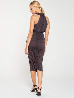 AX Paris High Neck Ruched Dress -Grey