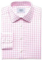Charles Tyrwhitt Classic Fit Non-Iron Twill Grid Check Light Pink Cotton Dress Shirt Size 19/37