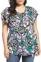 Melissa McCarthy Plus Size Women's Print Pintuck Pleat Top