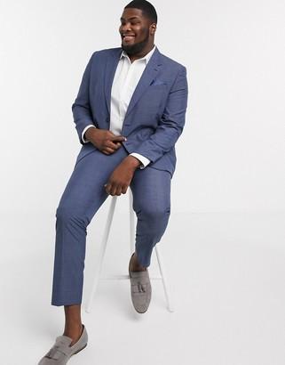 Burton Menswear Big & Tall slim suit jacket in blue check