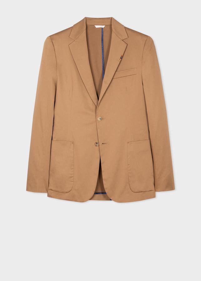 Paul Smith Men's Camel Organic-Cotton Stretch Unlined Blazer