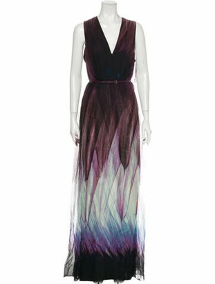 Elie Saab Silk Long Dress Purple