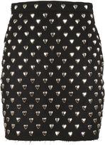 Saint Laurent Heart Studded Mini Skirt