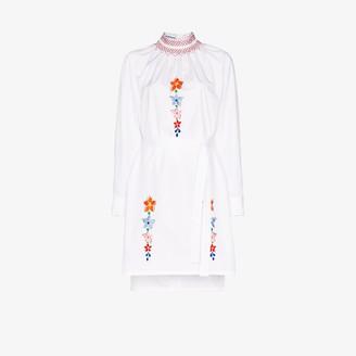 Prada Smocked Embroidered Cotton Shirt Dress