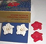 Avon Holiday Blossom Convertible Earrings Vintage 1988