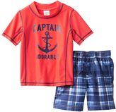 """Carter's Toddler Boy Captain Adorable"""" Anchor Rashguard & Swim Trunks Set"""