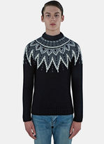 Saint Laurent Men's Fair Isle Sequin Knitted Sweater In Black
