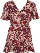 River Island Womens Pink floral devore tea dress style playsuit