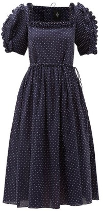 Horror Vacui Laura Scalloped Swiss-dot Cotton Midi Dress - Navy