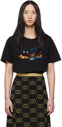 Gucci Black Sequin Vintage Logo T-Shirt