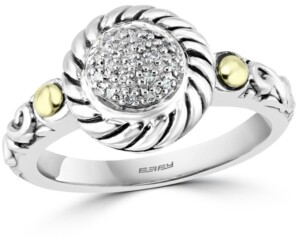 Effy Diamond Cluster Statement Ring (1/20 ct. t.w.) in Sterling Silver & 18k Gold-Plate