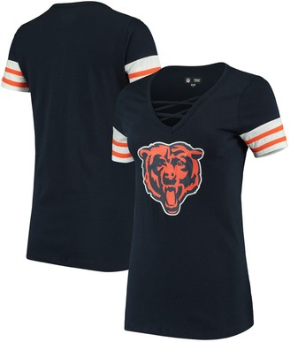 New Era Women's Navy Chicago Bears Contrast Sleeve Stripe V-Neck T-Shirt