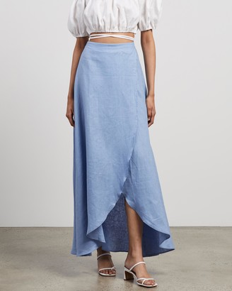 AERE - Women's Blue Maxi skirts - Split Maxi Skirt - Size 14 at The Iconic