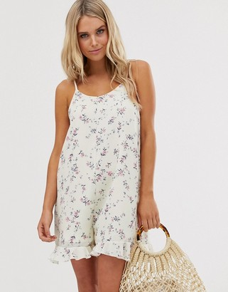 Daisy Street cami playsuit in ditsy floral-White