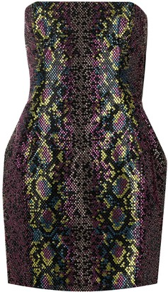Versace Strapless Crystal-Embellished Mini Dress