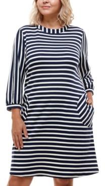 Monteau Trendy Plus Size Striped Boat-Neck Shift Dress