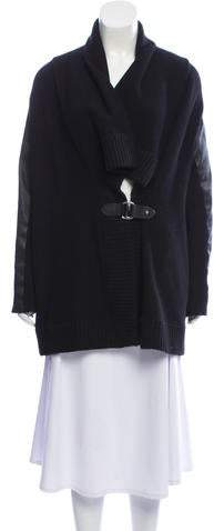 Ralph Lauren Leather-Trimmed Knit Cardigan