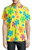 Moschino Psychedelic Floral-Print Short-Sleeve Sport Shirt, Yellow
