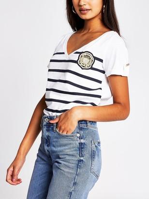 River Island Stripe Badge T-Shirt- White