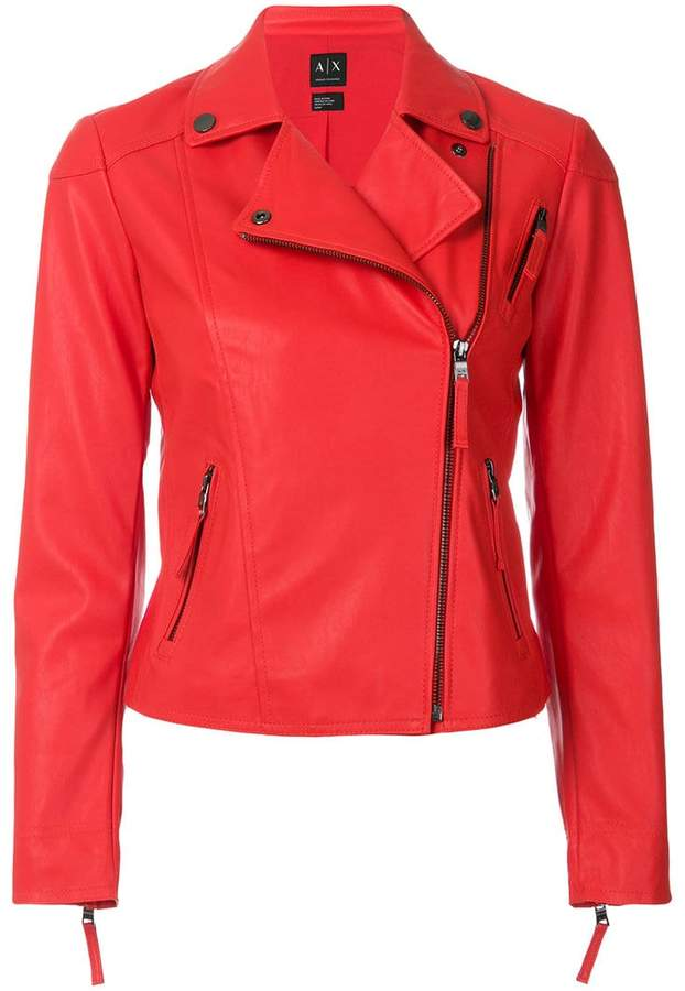 Armani Exchange fitted cropped biker jacket