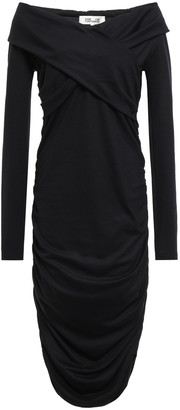 Diane von Furstenberg Off-the-shoulder Ruched Stretch-knit Dress