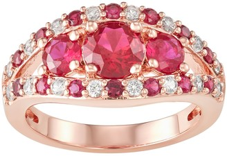 14K Rose Gold over Sterling Silver Lab-Created Ruby & White Sapphire Ring