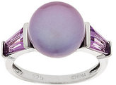 Honora Cultured Pearl 10.5mm Button & Gemstone Sterling Ring