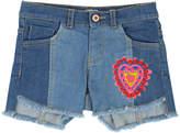 Billieblush Two-Tone Raw-Hem Denim Shorts w/ Heart Patch, Size 4-12